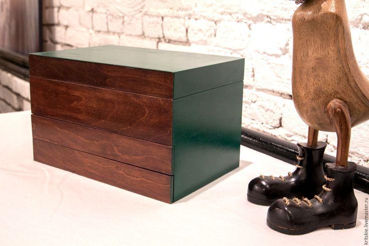 Купить Шкатулка комод для украшений с отделениями Благородный изумруд - тёмно-зелёный, комод для украшений