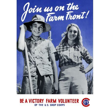 World War II poster of a young boy and girl working on a farm Canvas Art - John ParrotStocktrek Images (12 x 17)