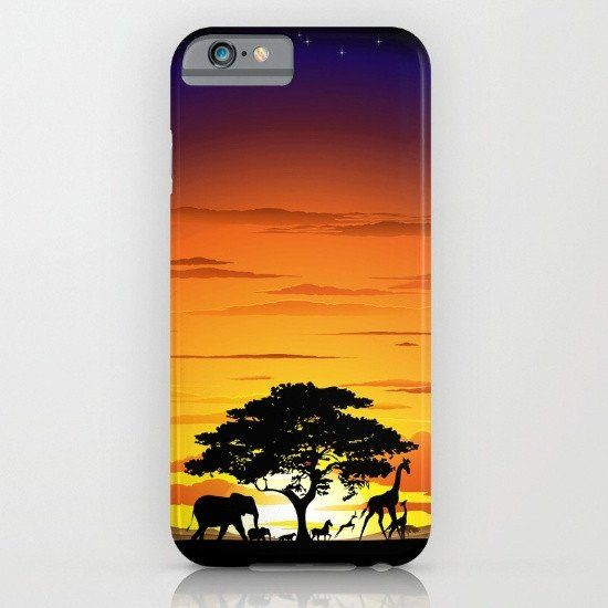 African sunset 3 iphone case, smartphone
