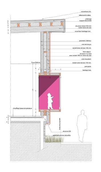Concours de l'école de l'Alpe d'Huez.   GTB Architectes Grenoble detail doorsnede isolatie plan