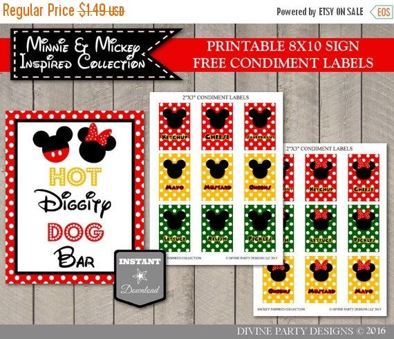 This Instant Download Printable Girl and Boy Classic Mouse 8x10 Hot Diggity Dog Bar sign is the perfect decoration for your party.  ***Please note: This listing is for a printable digital file only. You will not receive anything in the mail***  COMPLETE YOUR PARTY WITH THESE COORDINATING ITEMS: https://www.etsy.com/shop/DivinePartyDesign/search?search_query=GIRL+AND+BOY+MOUSE+CLASSIC&order=date_desc&view_type=gallery&ref=shop_search  -------------------------------- ORDERING INSTRUCTIONS…
