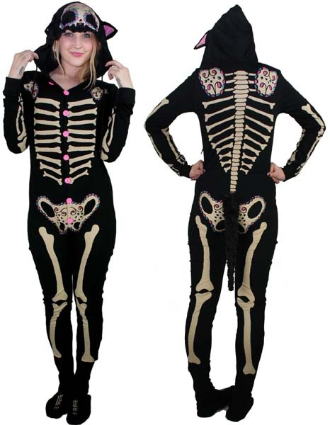 NEW - Kitty Bones Skelly Pajamas by Too Fast Clothing