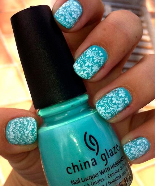 gorgeous blueLace Pattern, Nails Art, Nailart, Nails Design, China Glaze, Lace Nails, Nails Polish, White Lace, Blue Nails