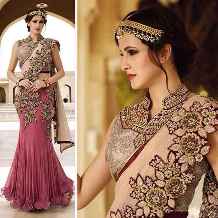 Saree Indian Bollywood Star Wedding Designer Pakistani Bridal Sari Blouse Set