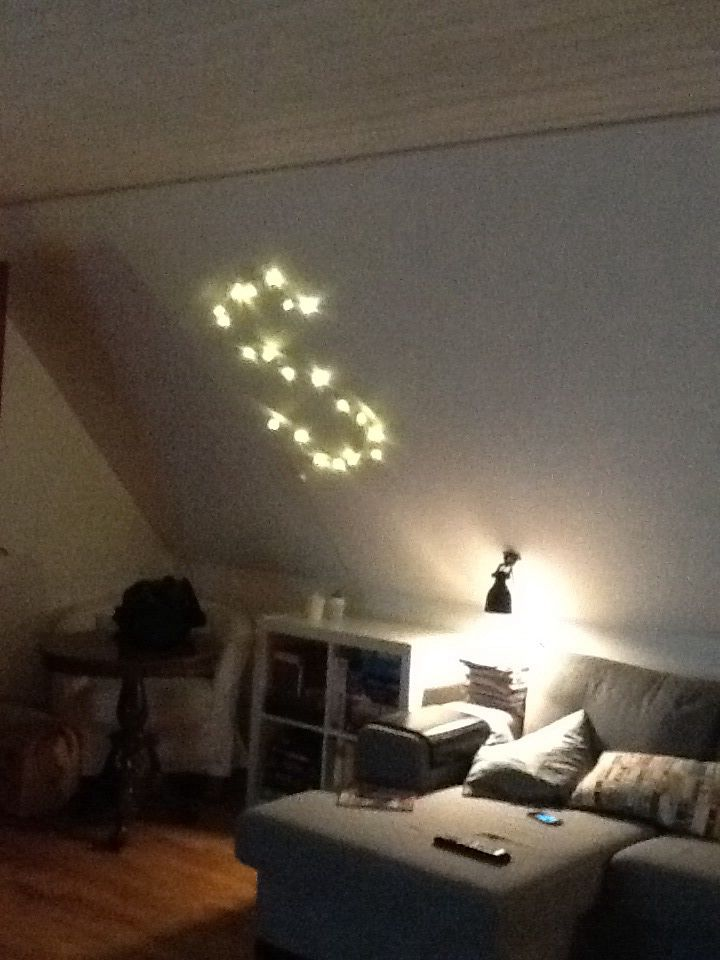 Christmas lights pinned on sloped Wall