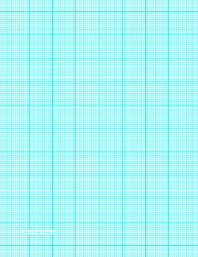 This letter-sized graph paper has twelve aqua blue lines every inch plus heavy index lines every inch. Free to download and print