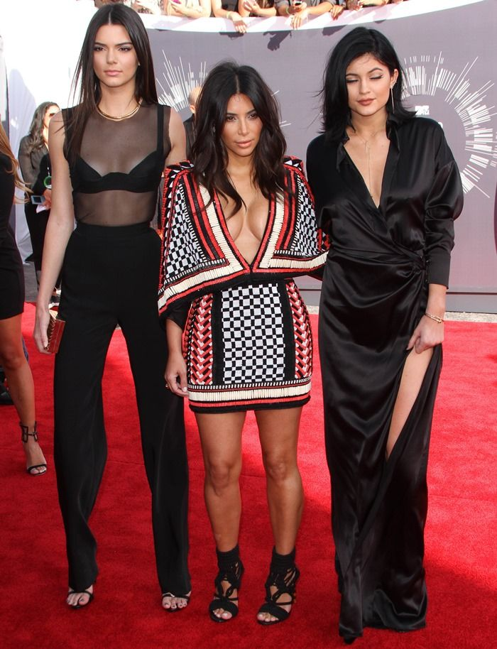 Kendall Jenner, Kim Kardashian, and Kylie Jenner at the 2014 MTV Video Music Awards at The Forum in Inglewood, California, on August 24, 2014