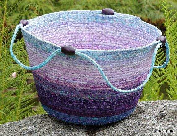 Purple mauve and turquoise Batik wrapped clothesline cord