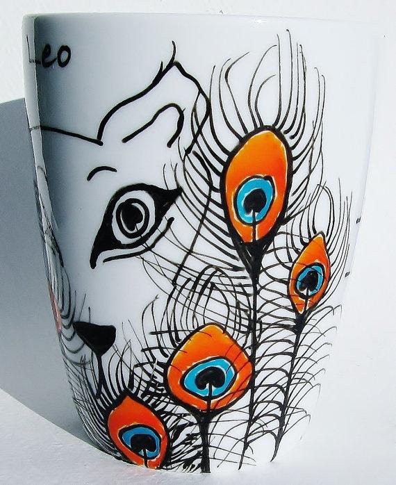 Zodiac mug leo mug mug peacock design coffee mmmug tea for Coffee painting designs