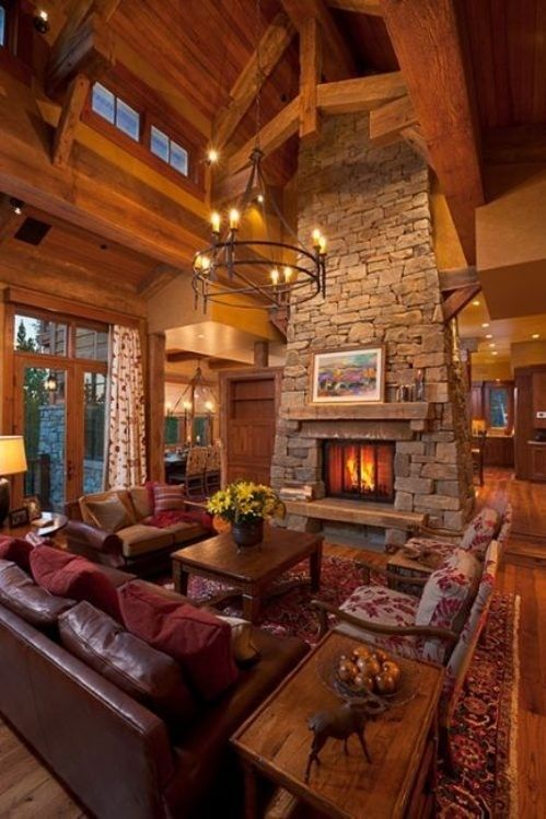 cabins favorite-places-and-spaces: Stones Fireplaces, Idea, Dreams Home, Dreams Houses, Living Rooms, Wood, Logs Cabins, Cabins Home, Dreamhous