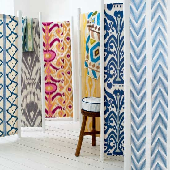 Really considering a bright ikat wallpaper like these for the wall outside our kitchen-- they are just total works of art!