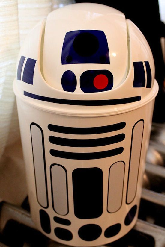 R2-D2 Wastebasket-- for Drew's basement room where he can decorate however he so chooses