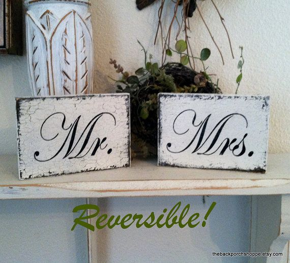 Mr & Mrs MINI REVERSIBLE SIGNS ps I love you by thebackporchshoppe