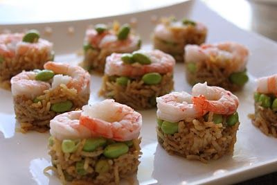 Shrimp and Rice Stackers -- a unique appetizer take on a classic Asian dish! | pretendpartyandplay.blogspot.com: Parties Frostings, Bowls Appetizers, Shrimp Fries Rice, Food, Parties Appetizers, Appetizers Ideas, Minis, Cookies Cutters, Fried Rice