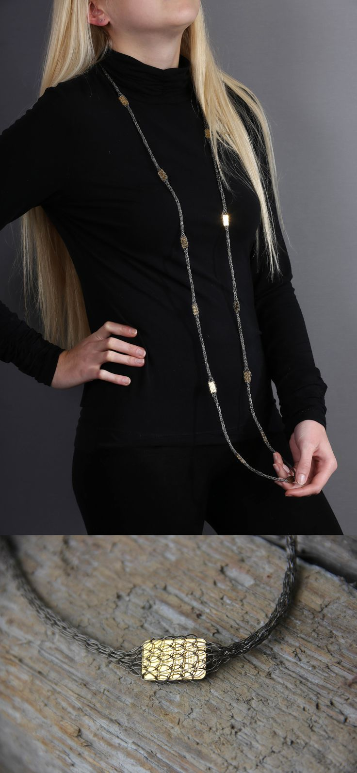 Kette, handgestrickt aus Titandraht mit Goldbarren www.atelier-zellhuber.de