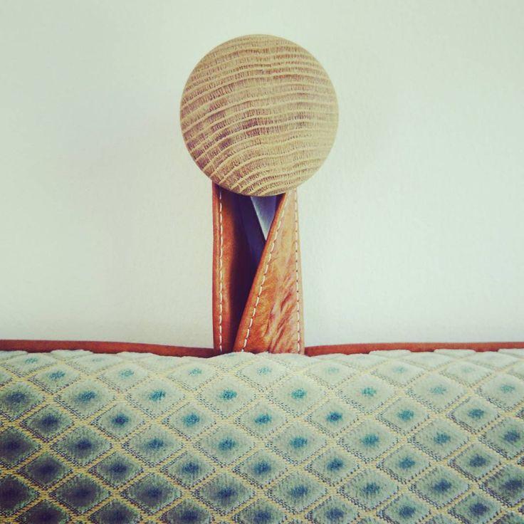 Our cool headboard hangers #them #bythornam #headboard #oak #handmade #danishdesign #leather #gym #mat