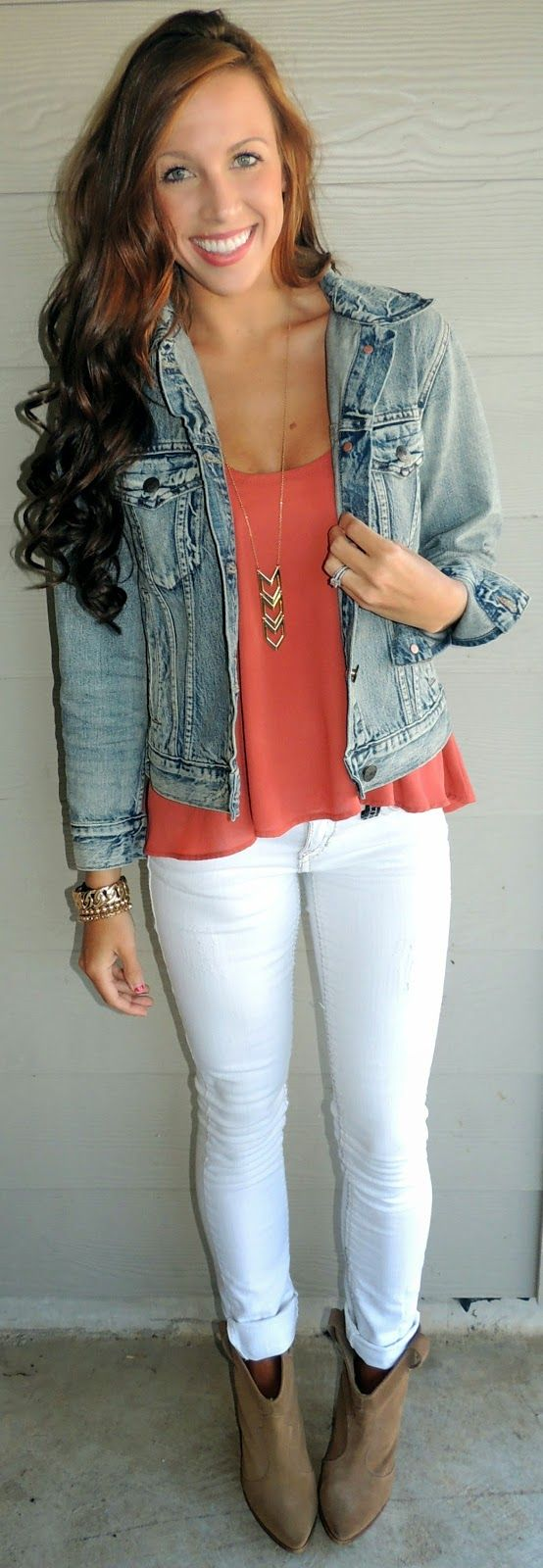 Denim jacket + coral flowy tank + white jeans + taupe booties