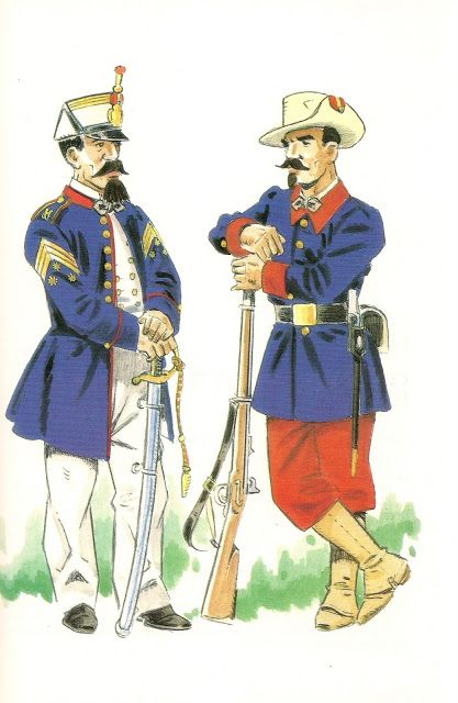 COMPAÑIA DE INFANTERIA DE FERNANDO POO. 1858-1869. Capitan en uniforme de gala,sobre 1860 - Soldado en uniforme de gala y for...