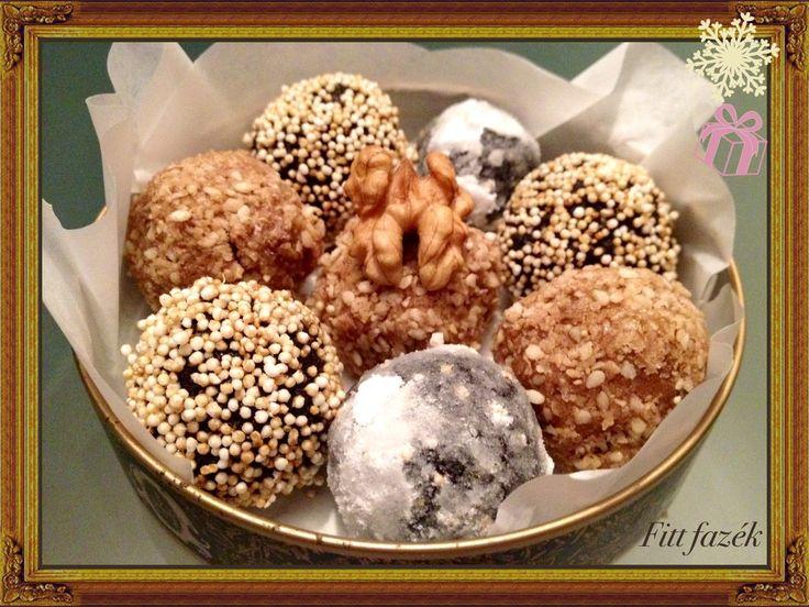 Karácsonyi ünnepi diós/mákos desszert golyók (cukor-, glutén-tojásmentes).