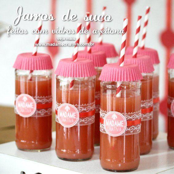 Jarros de suco personalizados feitos com vidro de azeitona - Passo a Passo - photo tutorial - Juice in decorated Mason Jars - DIY - Madame C...