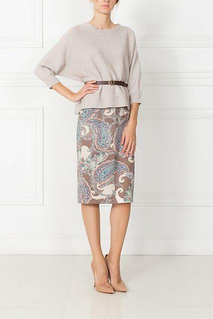 юбка - классика павлин - юбки средней длины