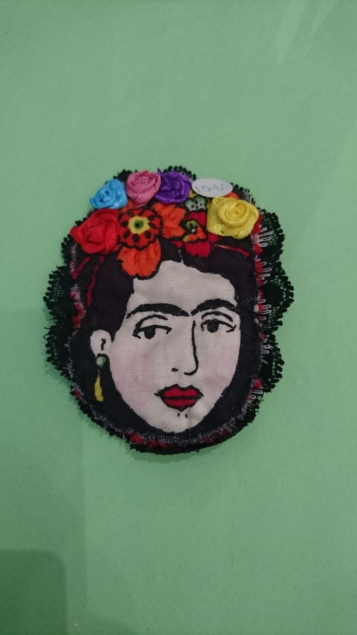 frida kahlo brooch in applique, hand sewn. by eclecticdreams2014 on Etsy