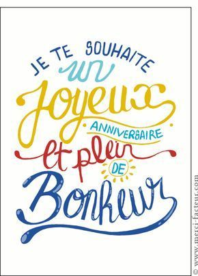 Carte Anniversaire plein de bonheur pour envoyer par La Poste, sur Merci-Facteur !