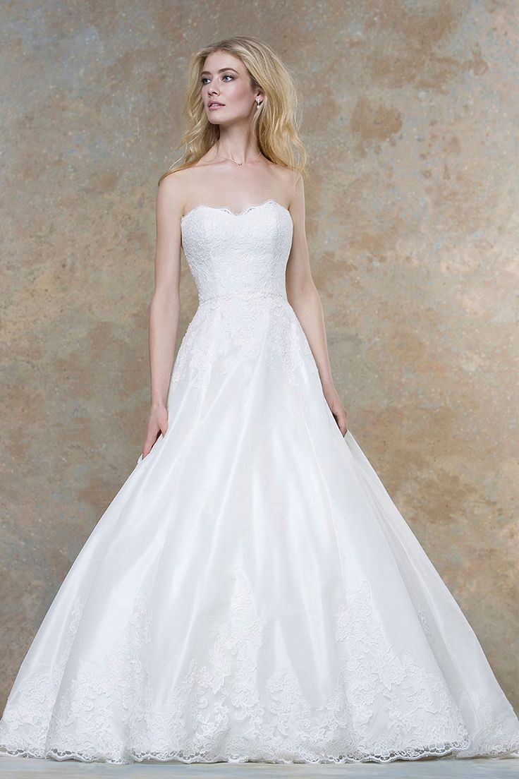 floor length satin lace gorgeous strapless sweetheart wedding dress
