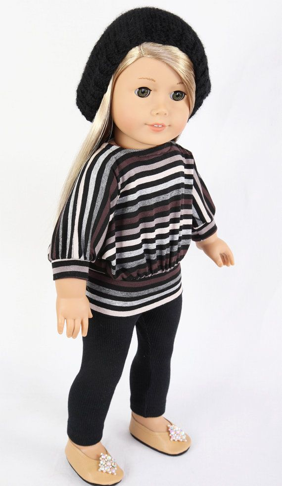 American Girl Doll Clothes, MODERN CITY CHIC, Striped Dolman Sleeved Knit Top, Black Ribbed Leggings, and Butterscotch Ballet Flats