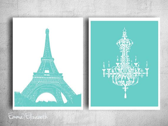Tiffany French Chandler Art Print Paris eiffel tower Wall hanging Girls bedroom art Modern Teen decor Aqua blue green poster 8x10 Print