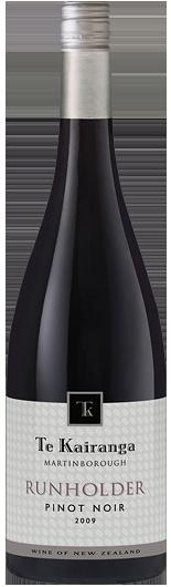 Te Kairanga 'TK' Runholder Pinot Noir, Martinborough. Sauvoury with a hint of wild herbs and sappy tannings adding extra complexity to black doris plum and cherry.