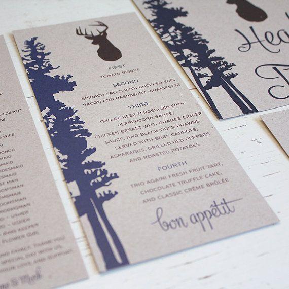 Rustic Deer Tree Wedding Invitation Suite by Pink Umbrella Invites