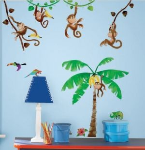 Best RoomMates for Kids Wand Deko Affen Dschungel