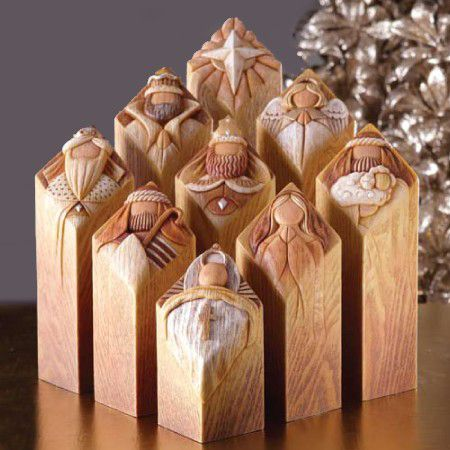 How charming is this beautifully crafted Pillar of Heaven nativity set by artist Kim Lawrence?