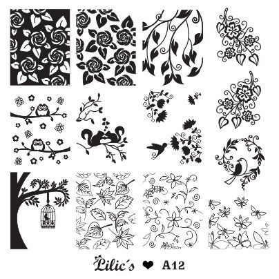 Lilic's stamping plate A12 full nail small owl rose flower birds swan cage tree bird leaves butterfly nature