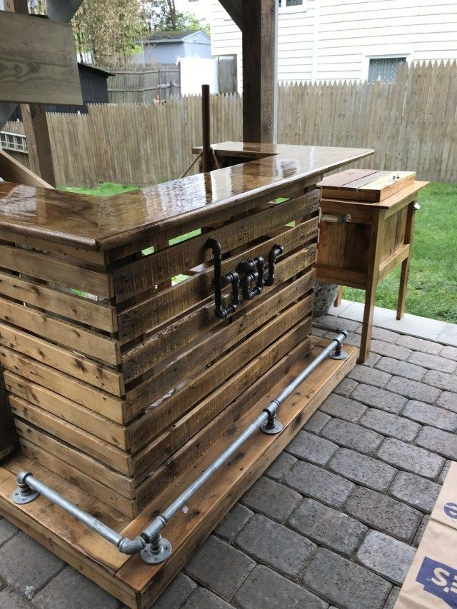 31 How to DIY a light-up outdoor bar using pallets | Diy ...