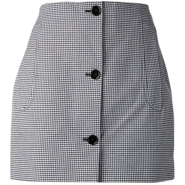 Carven buttoned front checked skirt ($265) ❤ liked on Polyvore featuring skirts, bottoms, faldas, black, checkered skirt, carven skirt, black skirt, button front skirt and checkerboard skirt