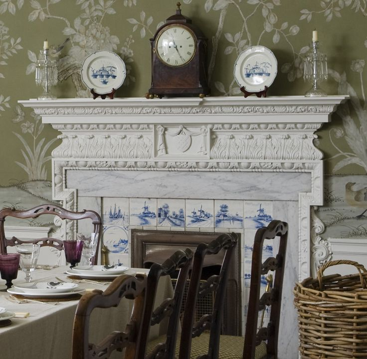 Beautiful Fireplace Detail Delft Tiles Hand Painted Chinoiserie Walls Antiques And Crystal In The Dining Room Colors
