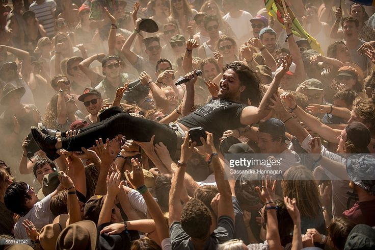 Dave Le'aupepe of the band Gang of Youths performs at Falls Festival on January 2, 2016 in Byron Bay, Australia.