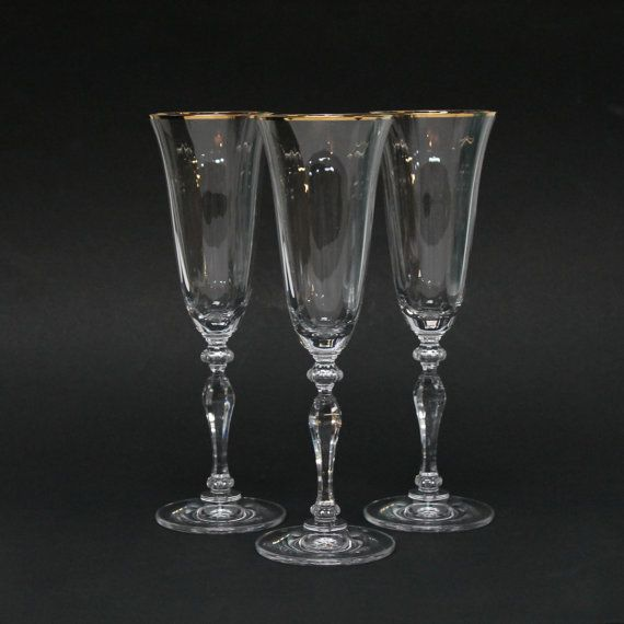 Mikasa allegro champagne glass flutes with a gold rim and optic pattern flute champagne and gold - Waterford cognac glasses ...