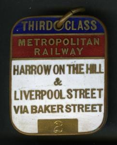 Enamelled brass rectangular medallion season ticket, with blank insert, issued by the #MetropolitanRailway, third class between Harrow on the Hill and Liverpool Street, 1920-1933. #LondonUnderground #MetropolitanLine
