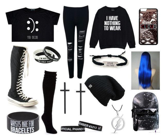 """Outfit #38"" by emo-trash7 ❤ liked on Polyvore featuring Converse and Hue"