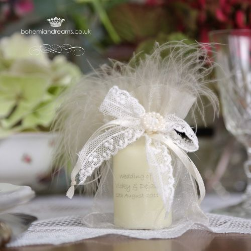 Personalised  wedding favour candle www.bohemiandreams.co.uk