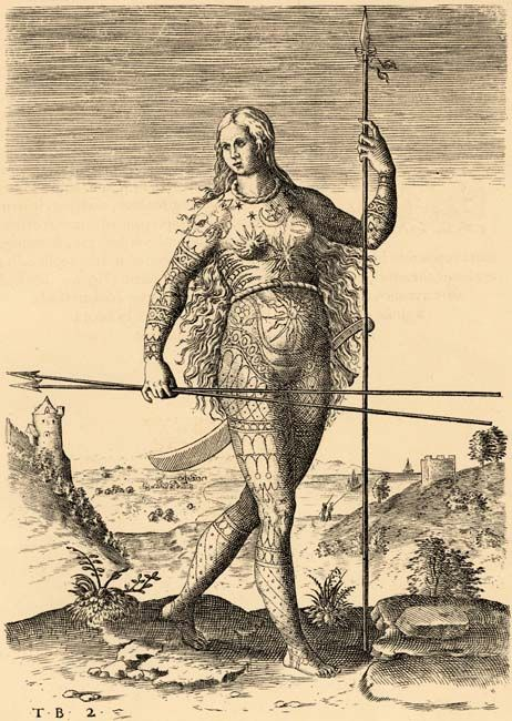 Black and white drawing of a female Pict [a member of an ancient Celtic people from Scotland] standing with a tall spear in her left hand an...