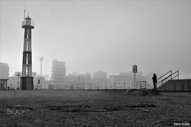 Black and white: as the lighthouse, as the fog - Gabicce Mare, Marche, Italy
