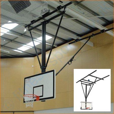 Schools senior indoor roof retracting basketball goal system.