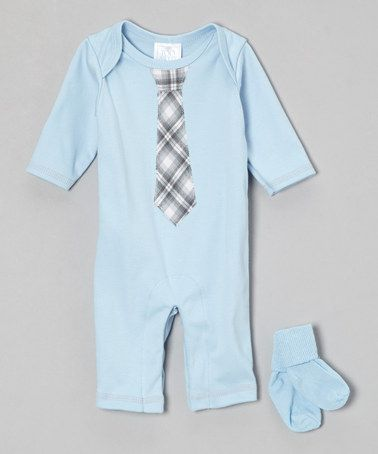 Take a look at this Blue Tie Playsuit & Socks - Infant by Too Sweet on #zulily today!