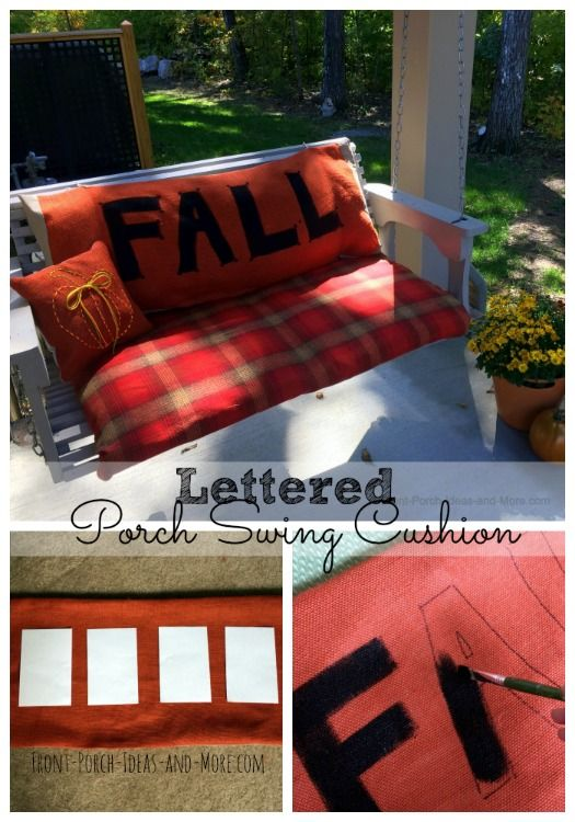 A fun lettered porch swing cushion for autumn made from burlap - get the easy tutorial at http://www.front-porch-ideas-and-more.com/fall-porch-swing-cushion.html