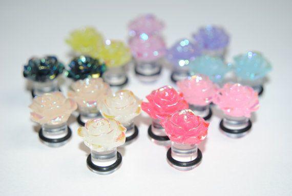Beautiful Iridescent Rose Acrylic Plugs Formal Ear by CutePlugs, $13.00
