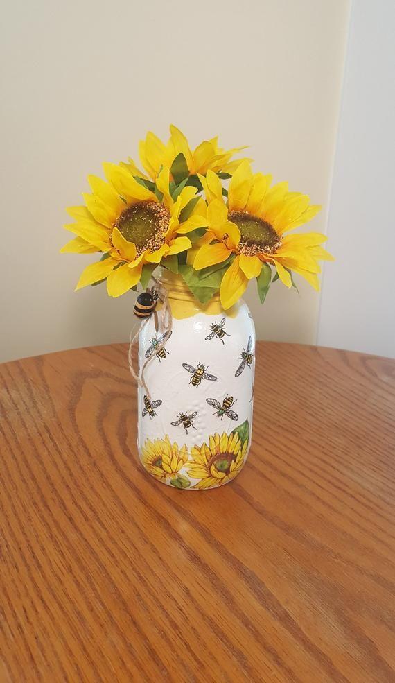 Honey Bee Sunflower Mason Jar Vase Mason Jar Centerpiece Etsy In 2020 Mason Jar Centerpieces Mason Jar Decorations Mason Jar Crafts Diy